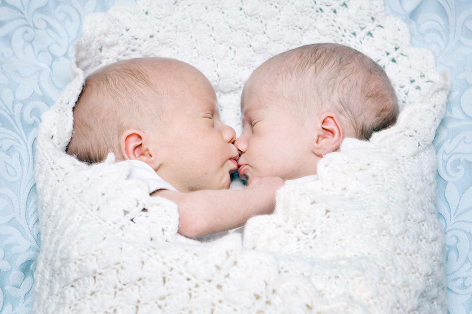Newborn twin portraits as